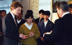 CF at hotel in Japan with students and President Reagan